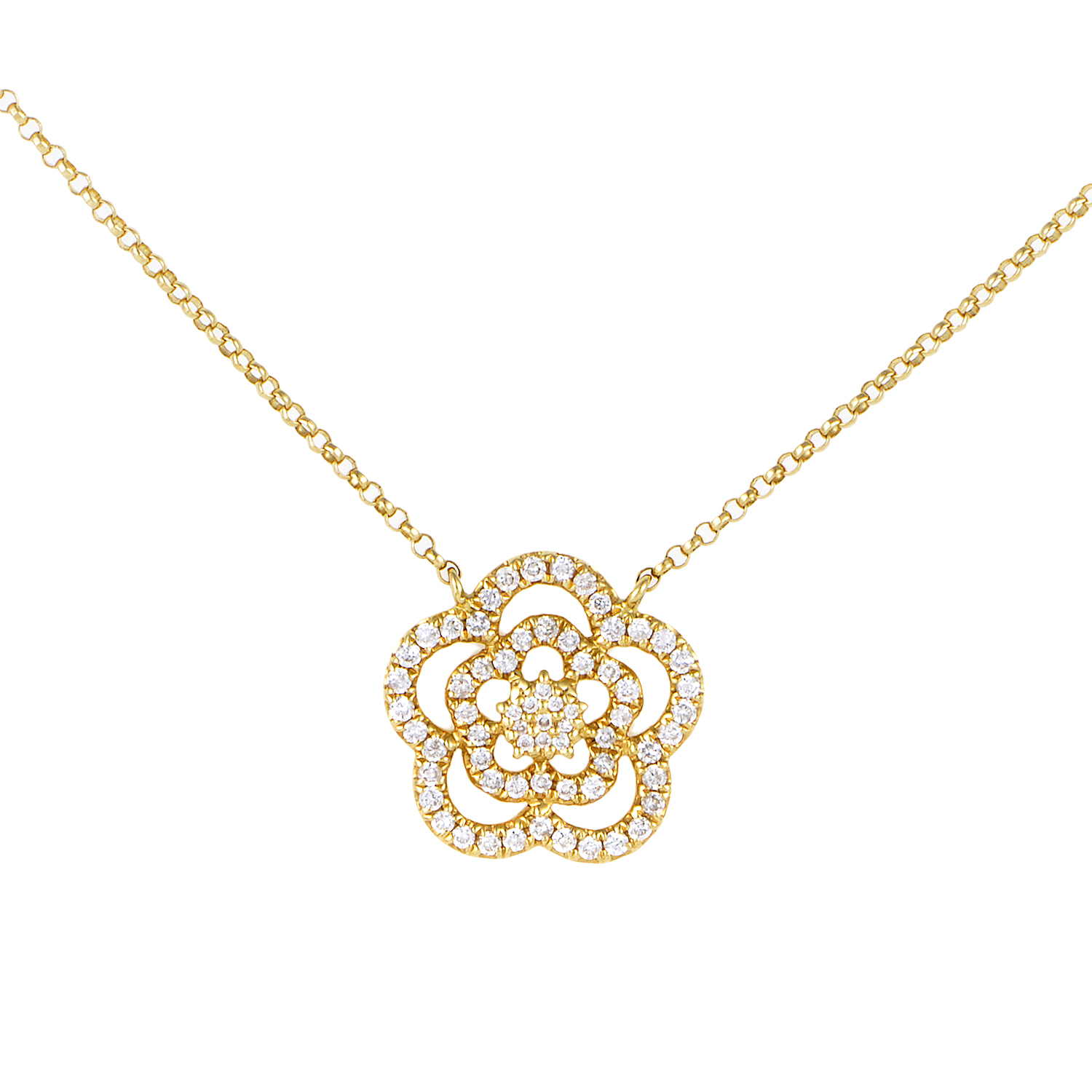 Women's 18K Yellow Gold Diamond Pave Flower Pendant Necklace KE29851RZZ