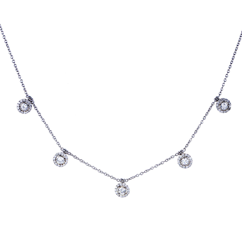 Women's 18K White Gold Dangling Diamonds Necklace KE3111NTBZ