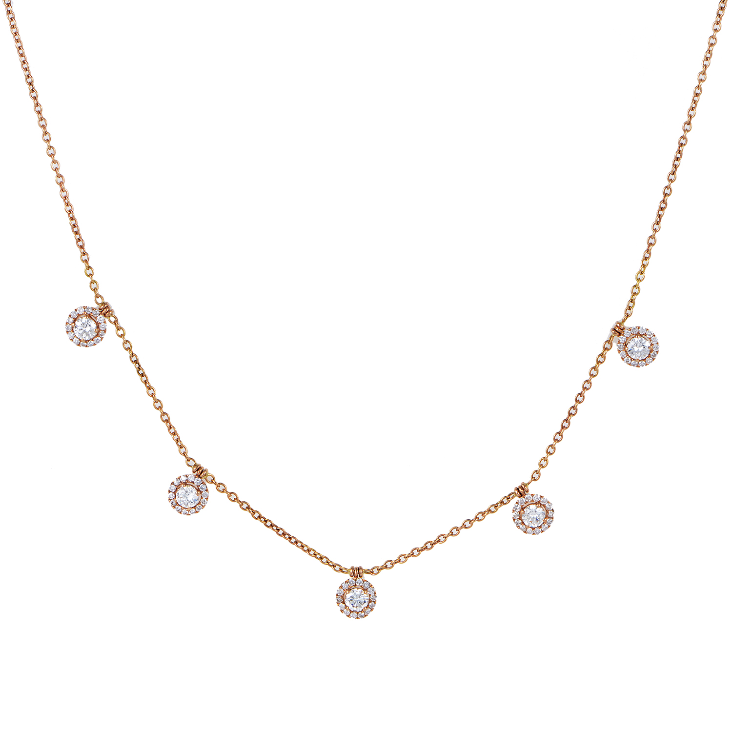 Women's 18K Rose Gold Dangling Diamonds Necklace KE3111NTRZLRG