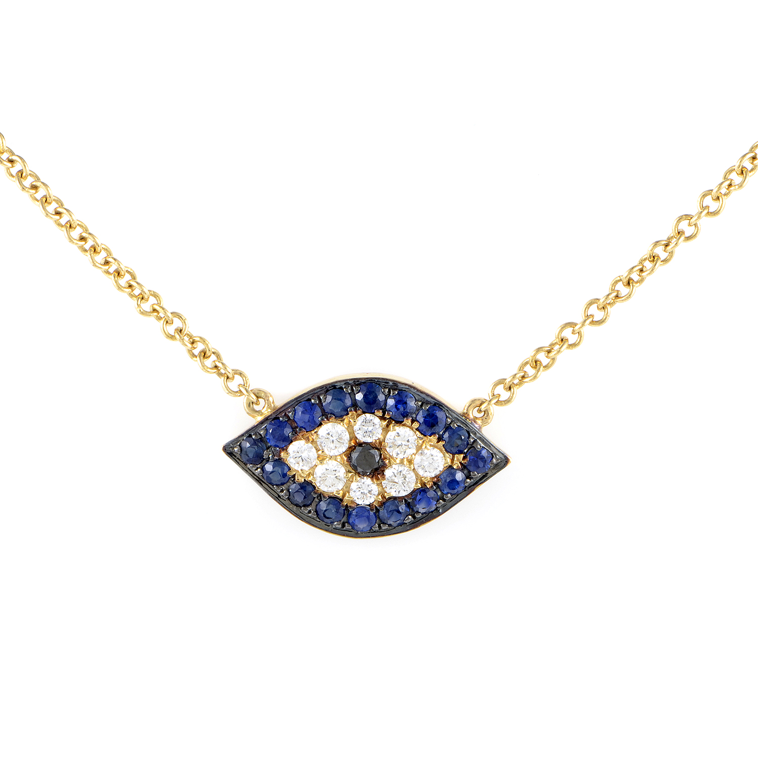 Women's 18K Yellow Gold Diamond & Sapphire Evil Eye Pendant Necklace KE5181PTZZSA
