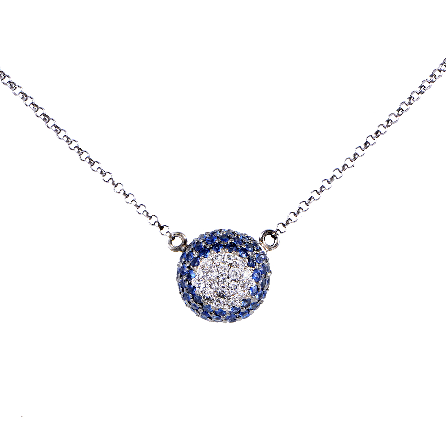 Women's 18K White Gold Diamond & Sapphire Pave Pendant Necklace KE5227NBZSA