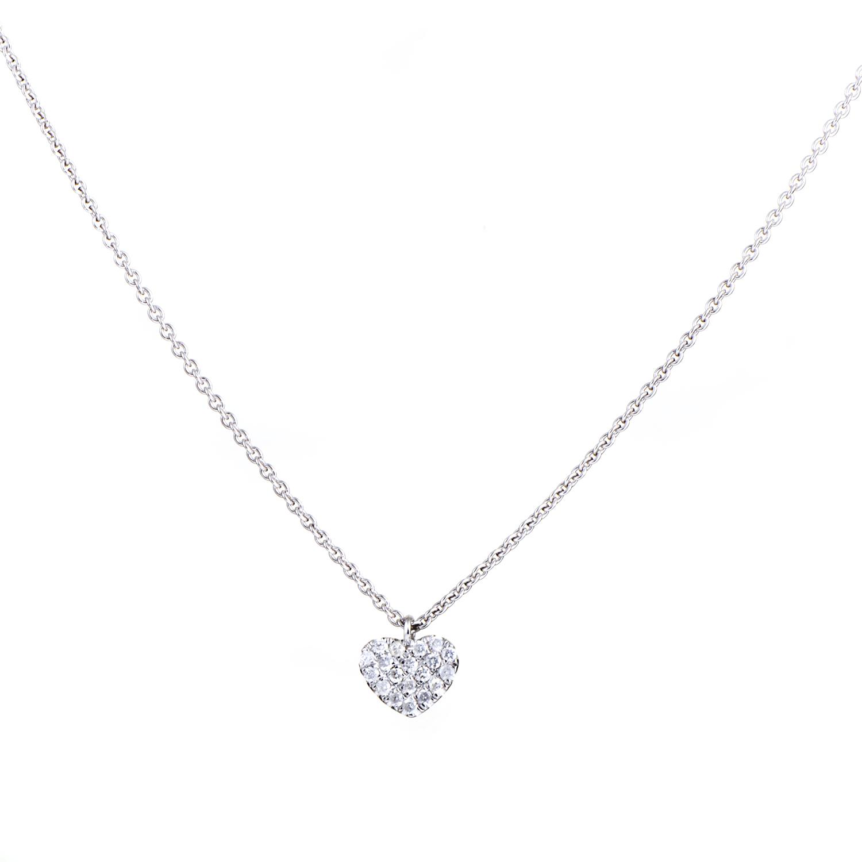 Women's 18K White Gold Diamond Pave Heart Pendant Necklace KE54531RBZ