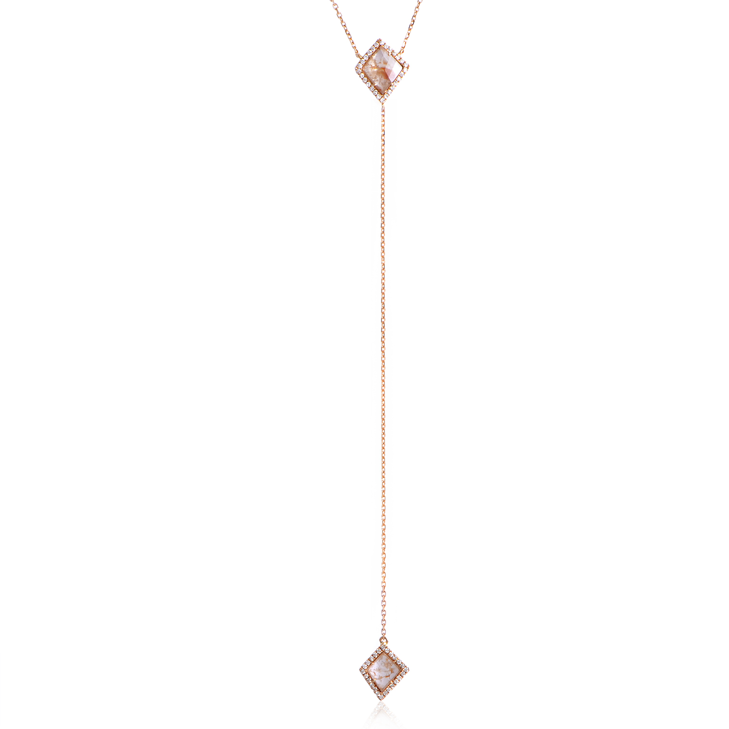 Women's 18K Rose Gold White & Gray Diamond Lariat Necklace KE569NVRZ