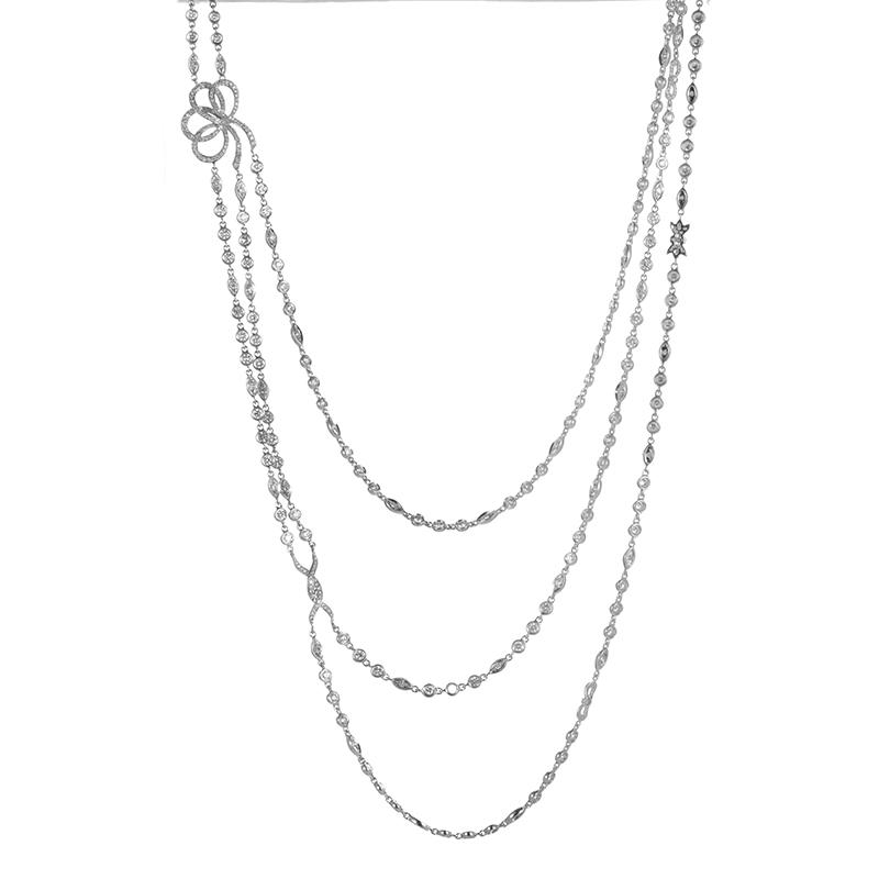 18K White Gold Multi-Strand Diamond Necklace KE60651RBZ