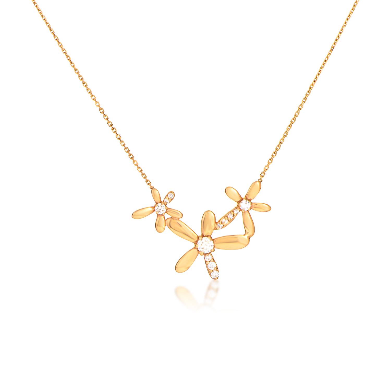 Women's 18K Rose Gold Diamond Flowers Pendant Necklace KE562PLRZ