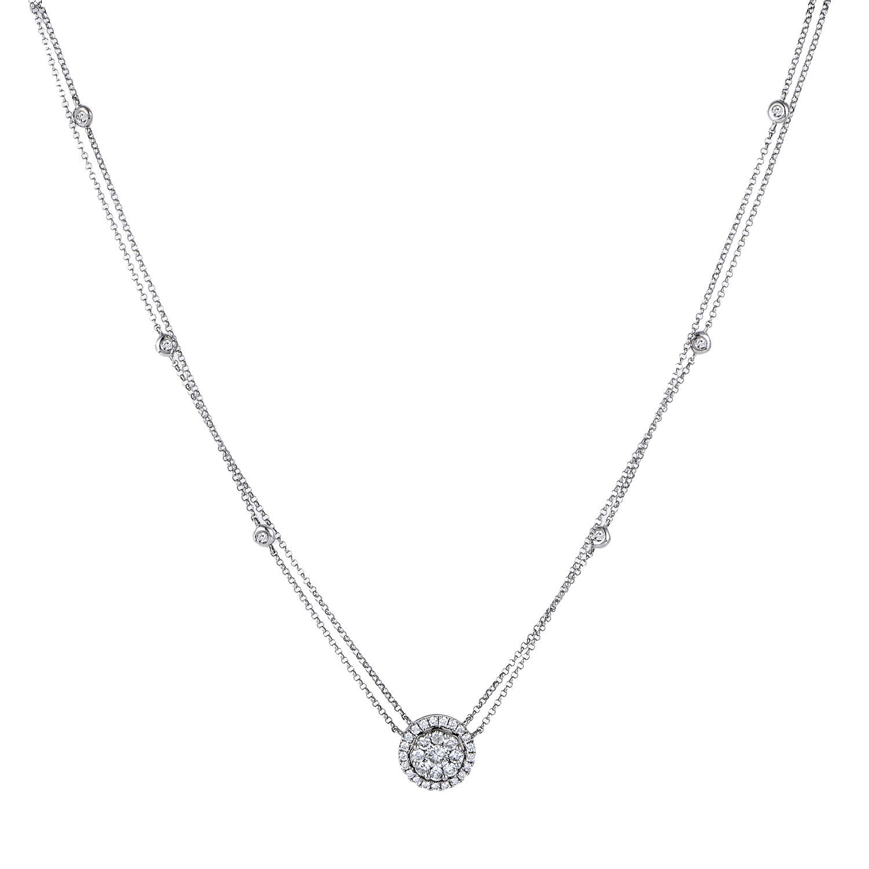 Women's 18K White Gold Diamond Pave Pendant Necklace KE78021RBZSM