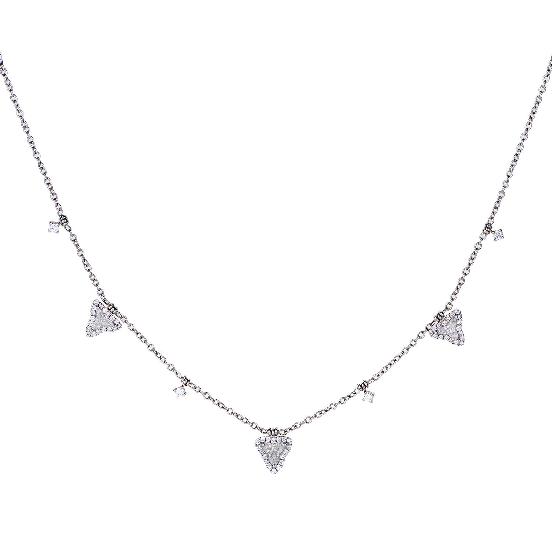 Women's 18K White Gold Dangling Diamonds Necklace KE8132NTBZ