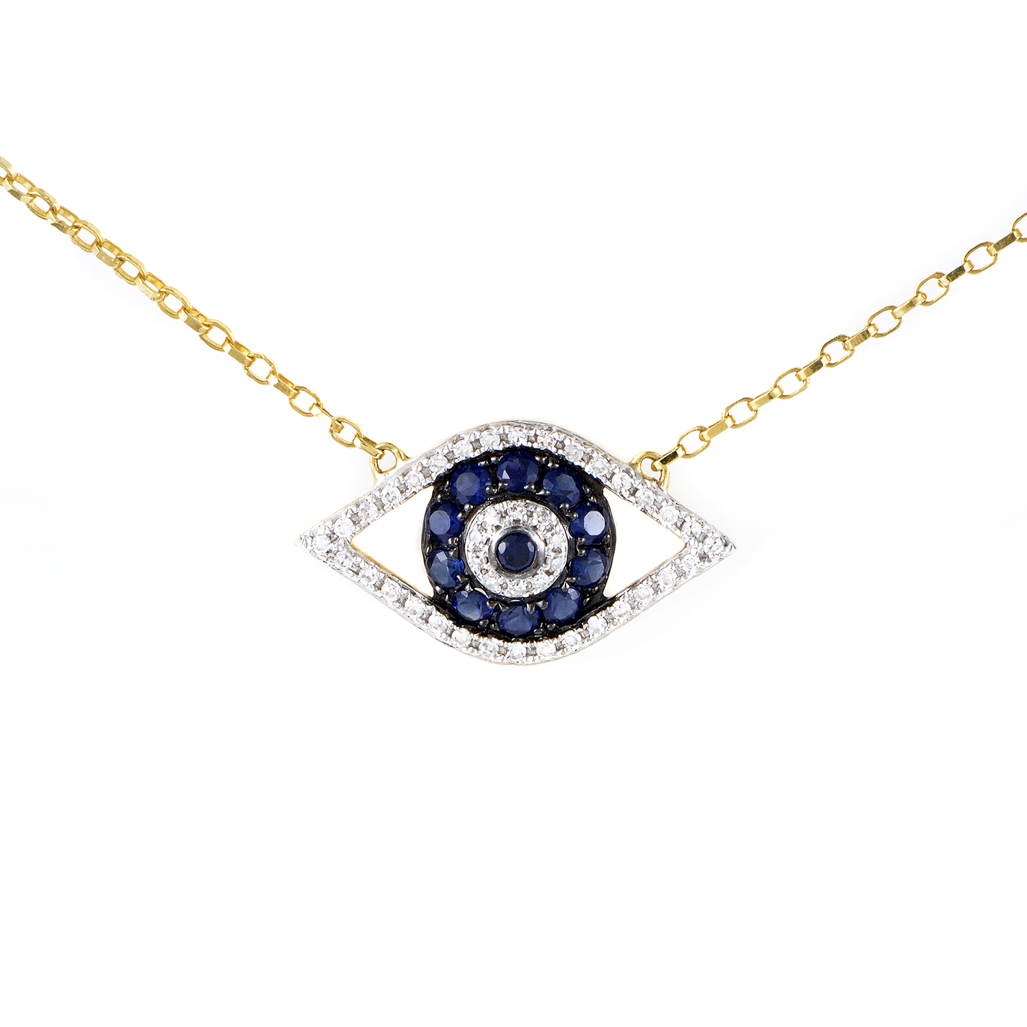 Women's 18K Yellow Gold Diamond & Sapphire Evil Eye Pendant Necklace