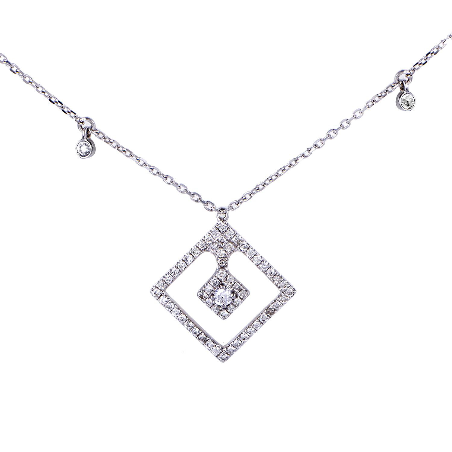 Women's 18K White Gold Diamond Pave Pendant Necklace KE88951RBZ