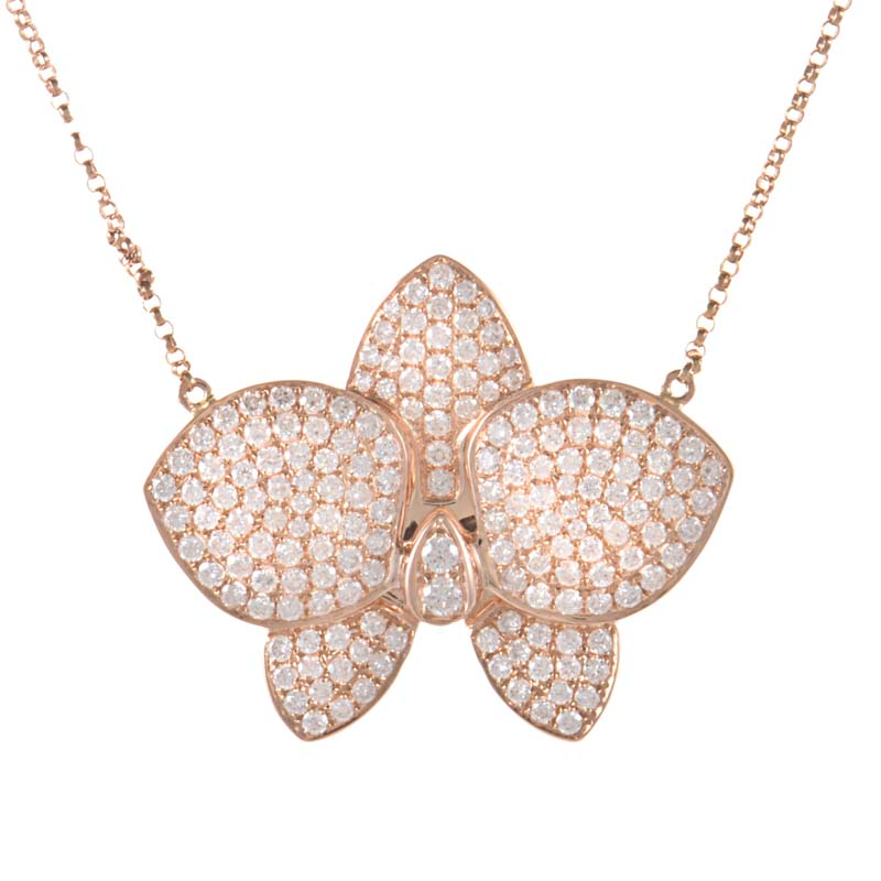 18K Rose Gold Diamond Pave Flower Pendant Necklace KE96611RRZ