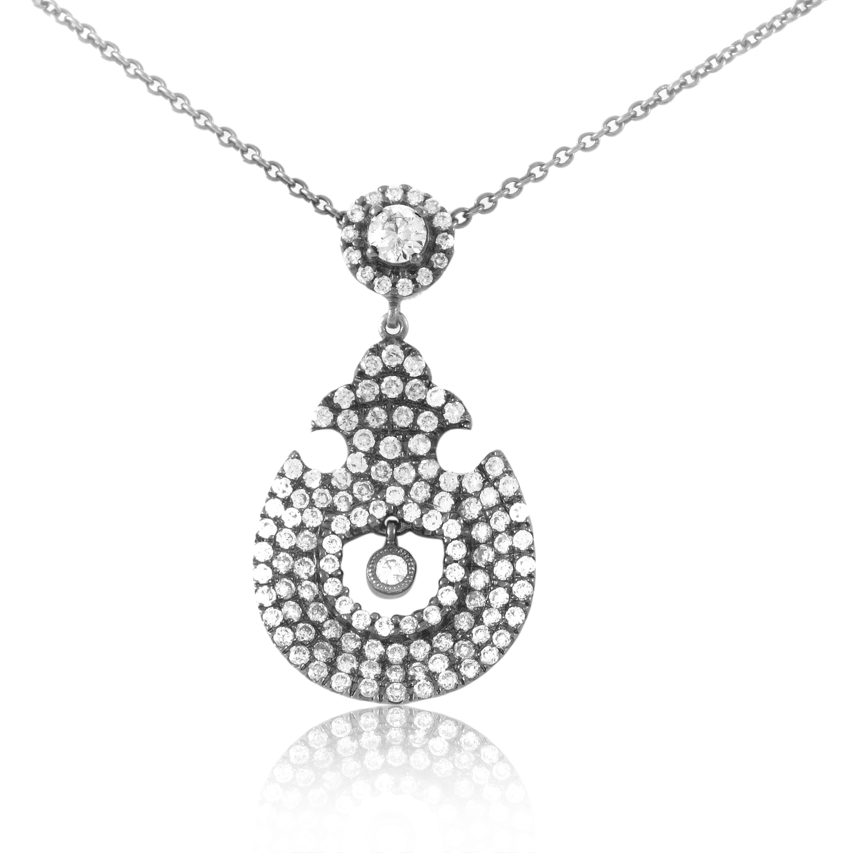 18K White Gold Diamond Pendant Necklace KE97DPMSBZBR