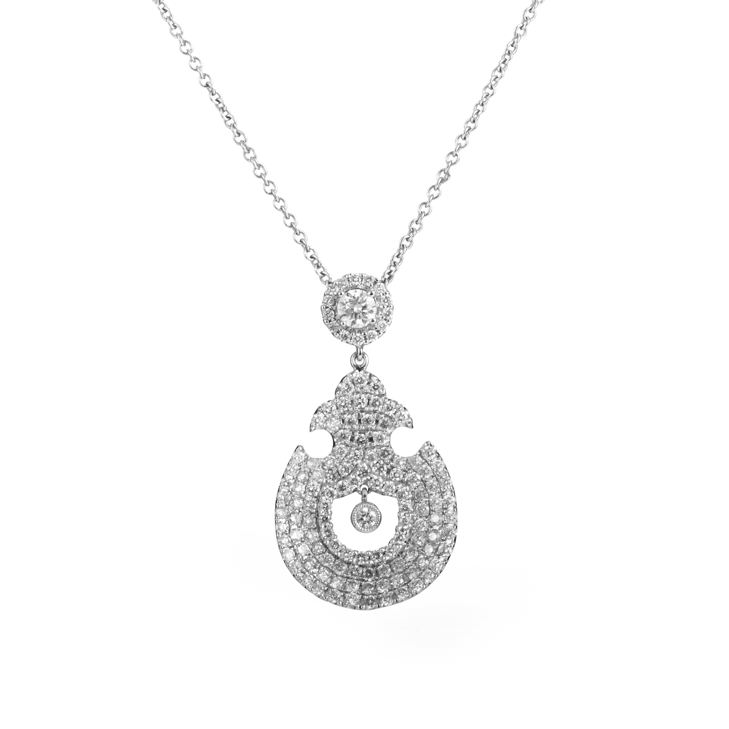 18K White Gold Diamond Pendant Necklace KE97DPMSBZ