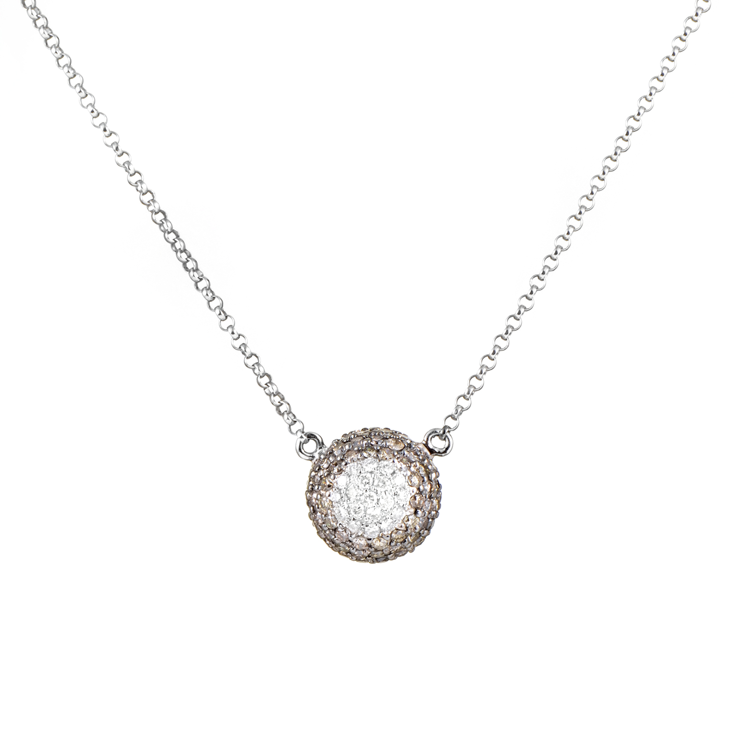 Women's 18K White Gold Brown & White Diamond Pave Pendant Necklace