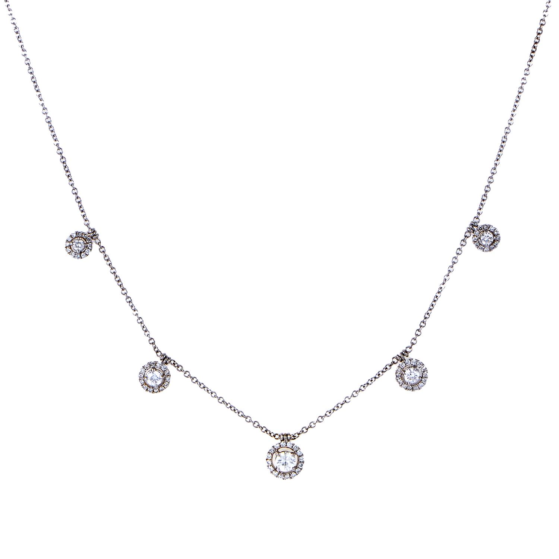 Women's 18K White Gold Dangling Diamond Necklace KED3111TTBZLRG