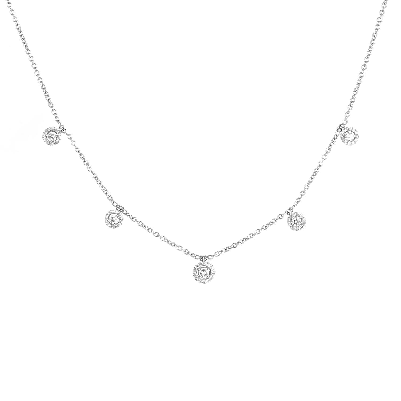 Women's 18K White Gold Dangling Diamonds Necklace KED3111TTBZSM