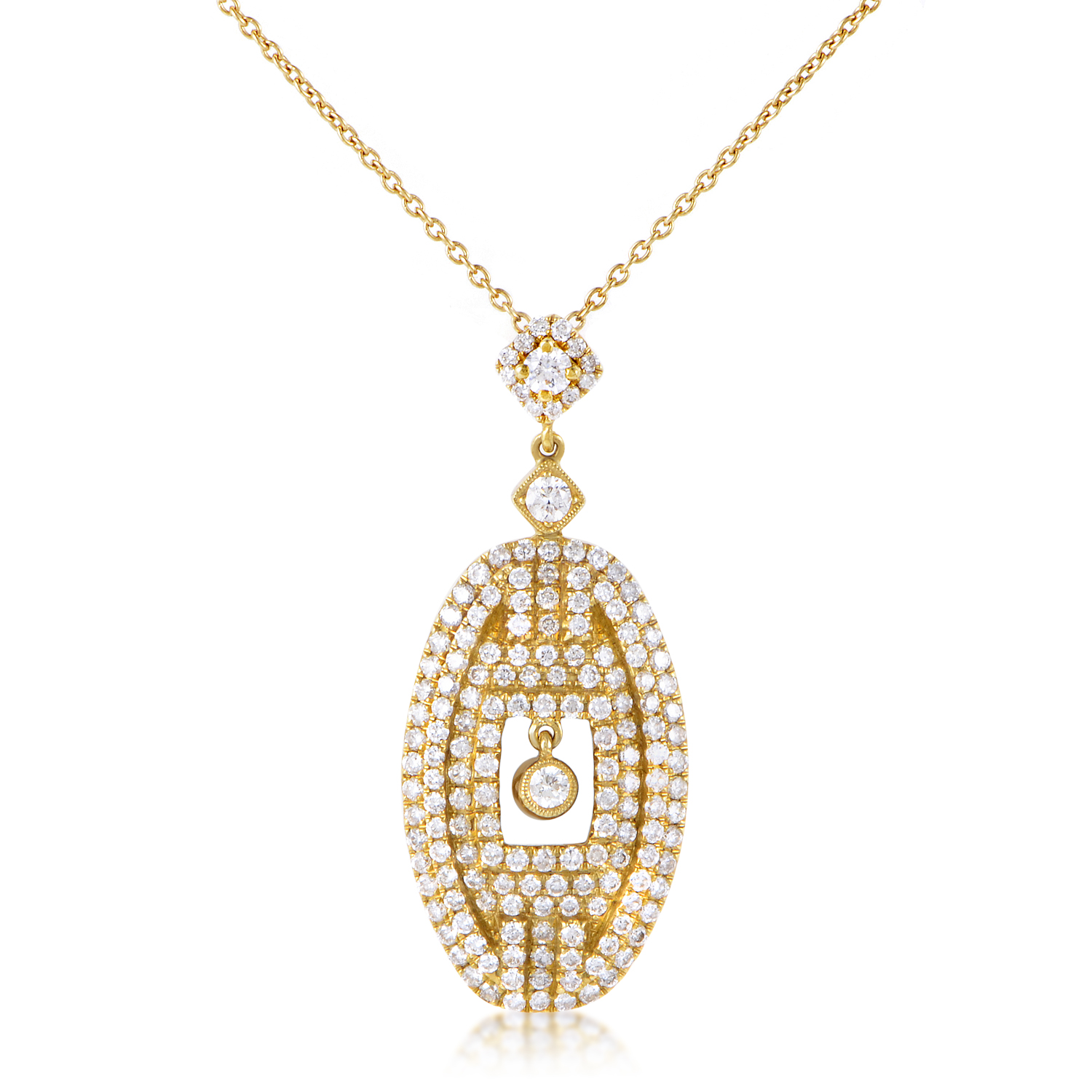 Women's 18K Yellow Gold Diamond Pave Pendant Necklace KEDPMSZZ