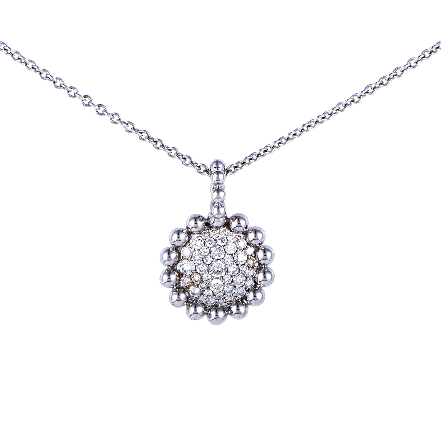 Women's 18K White Gold Diamond Pave Pendant Necklace KEMS45PNBZ