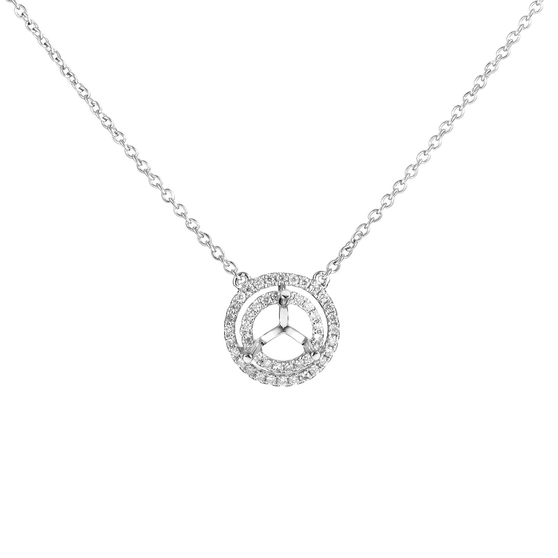 Women's 18K White Gold Diamond Mounting Pendant Necklace KER02DNBZ