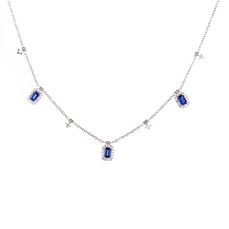 Women's 18K White Gold Dangling Diamond & Sapphire Necklace KESB8912NTBZ3SA
