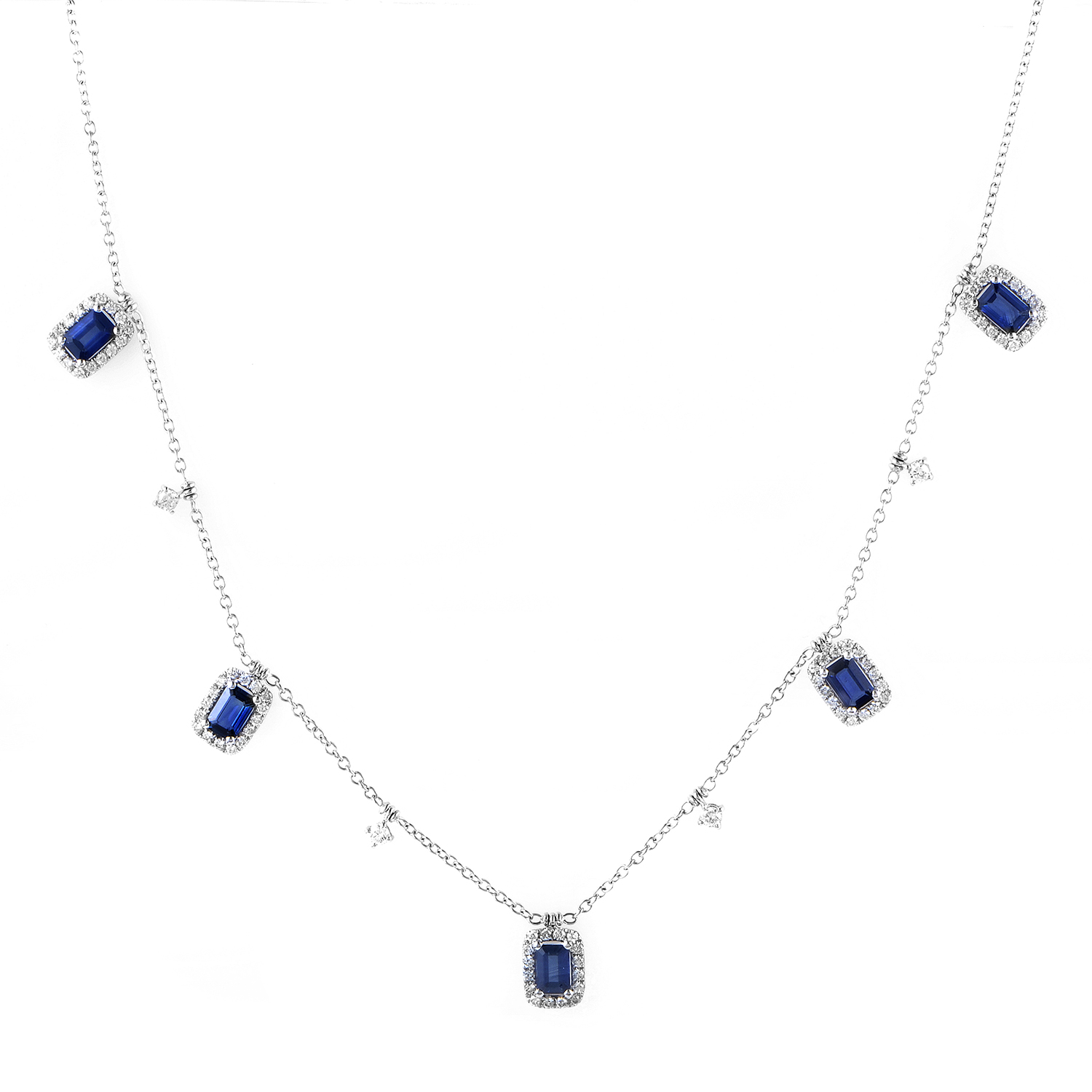 Women's 18K White Gold Dangling Diamond & Sapphire Necklace KESB8912NTBZ5SA