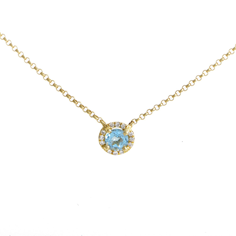 Women's 18K Yellow Gold Diamond & Topaz Solitaire Pendant Necklace