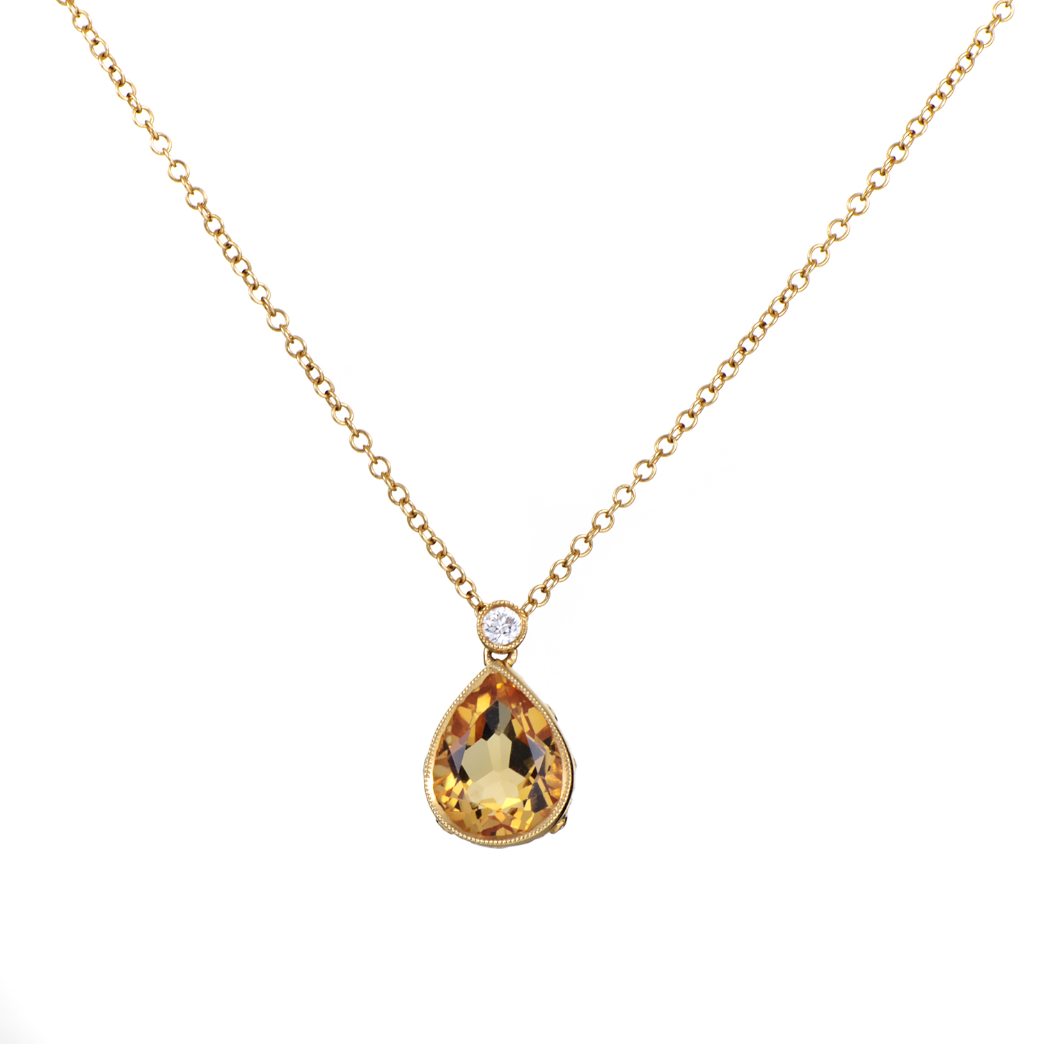 Women's 18K Yellow Gold Diamond & Citrine Teardrop Pendant Necklace