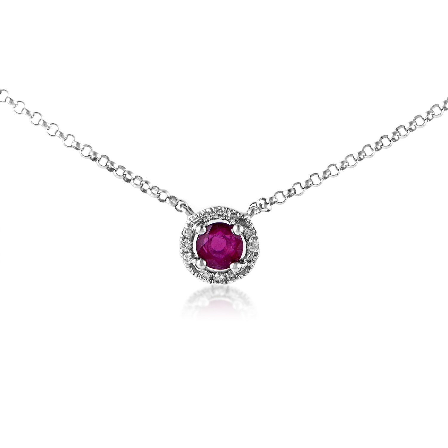 Women's 18K White Gold Diamond & Ruby Solitaire Pendant Necklace