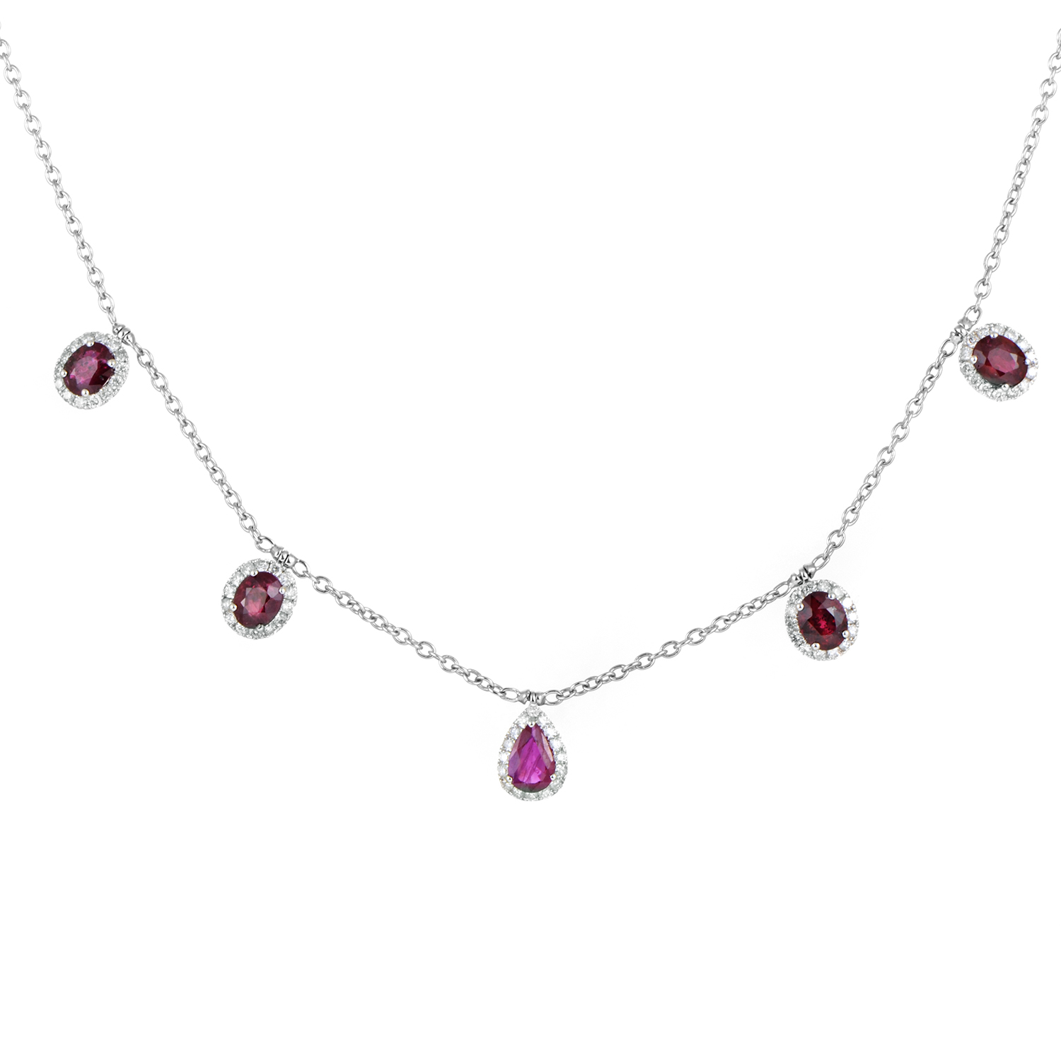 Women's 18K White Gold Dangling Diamond & Ruby Necklace KEUR9512NTBZRU