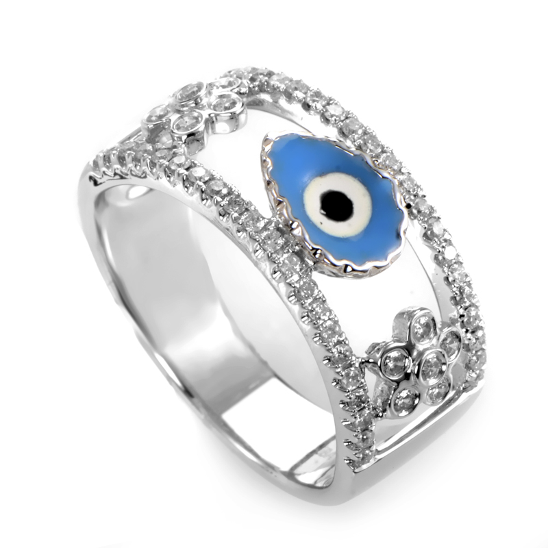 18K White Gold Diamond Evil Eye & Flowers Band Ring KO01941RBZ