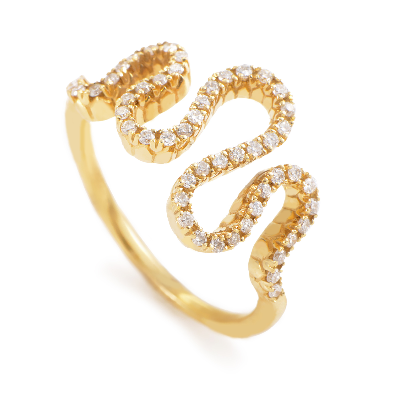 18K Yellow Gold Diamond Wave Ring KO08482GRZZ