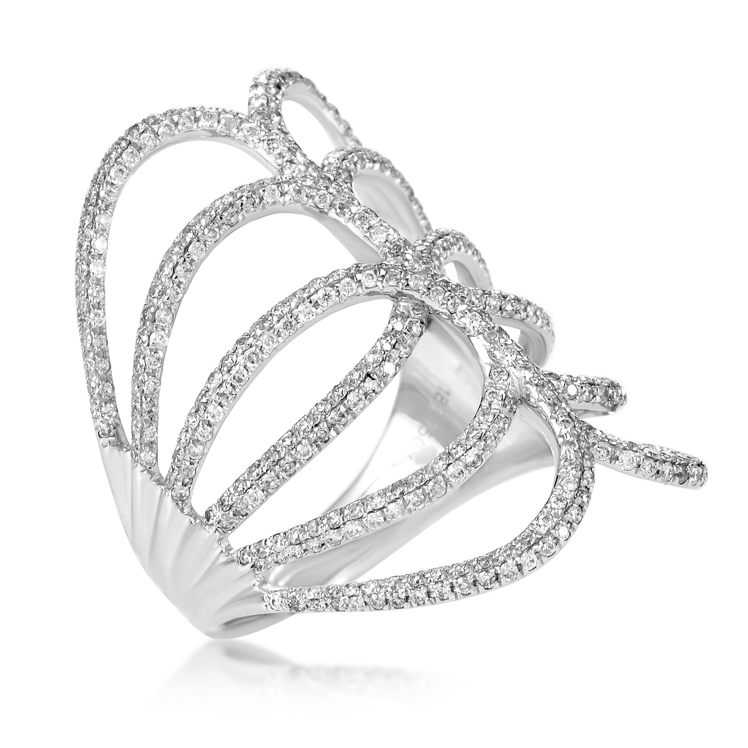 Women's 18K White Gold Openwork Diamond Band Ring KO08681RFBZ