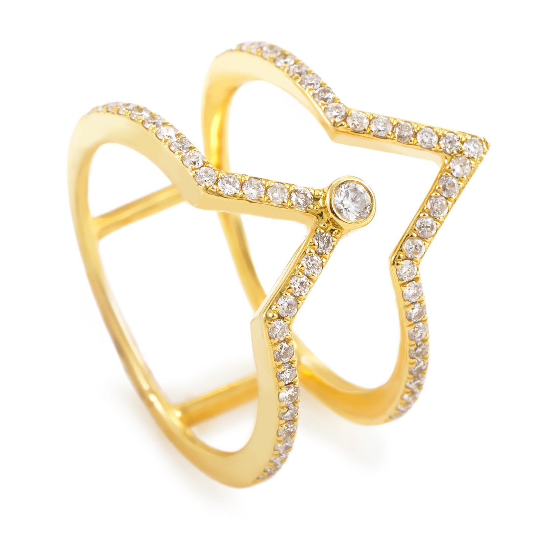 18K Yellow Gold Openwork Diamond Band Ring KO12581RZZ