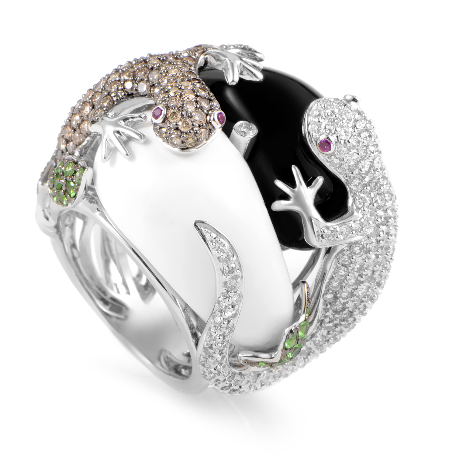 Women's 18K White Gold Diamond Lizard & Gemstone Ring KO1548BZTVOX