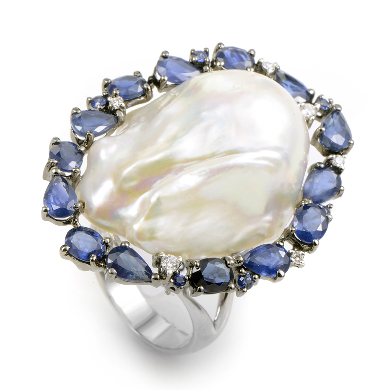 18K White Gold Gemstone & Pearl Cocktail Ring KO1631RSMBZ