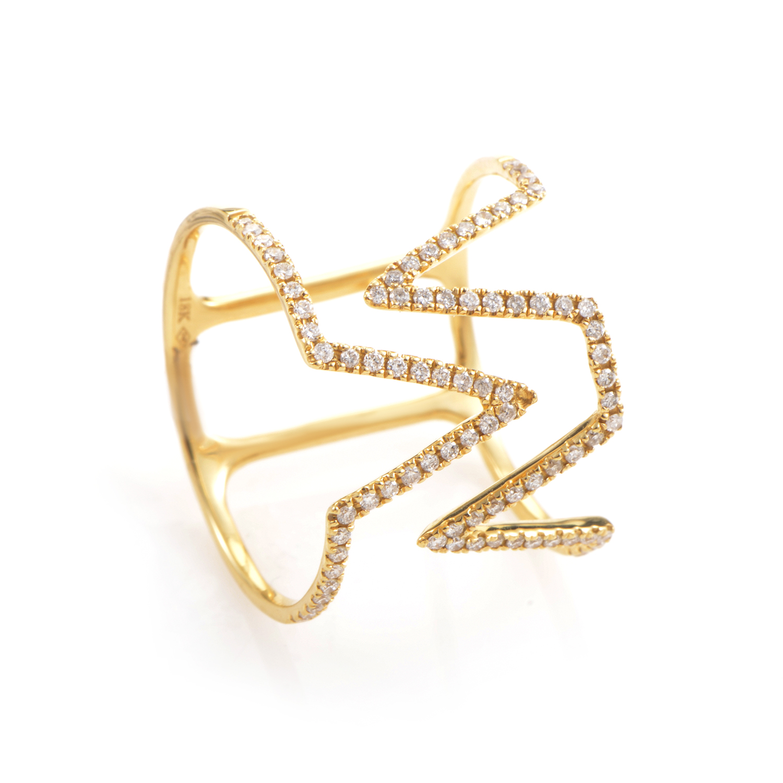 18K Yellow Gold Diamond Pave Openwork Band Ring KO23681RJZZ