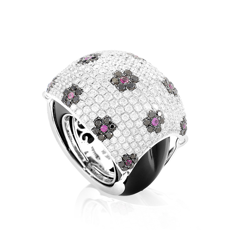 18K White Gold Floral Gemstone Pave Dome Ring KO25911RBZRUOX