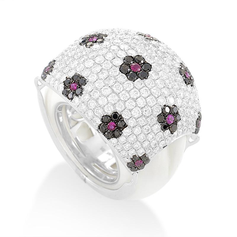 18K White Gold Floral Gemstone Pave Dome Ring KO25911RBZRU
