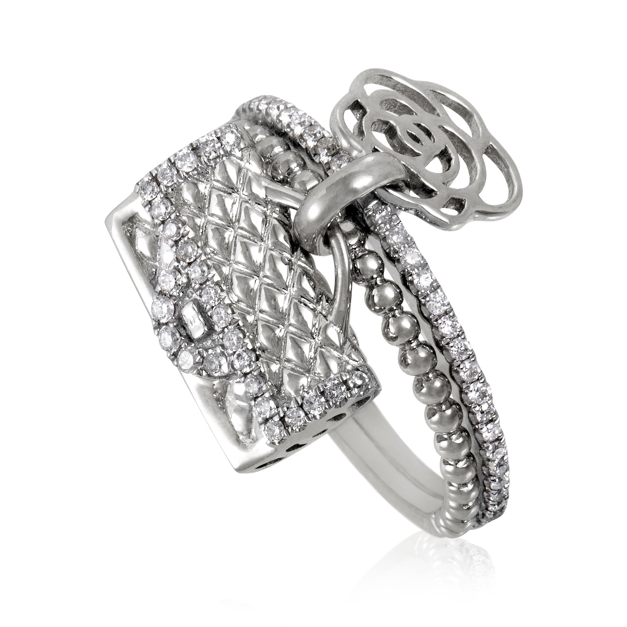 Womens 18K White Gold and Diamond Flower and Handbag Charm Ring