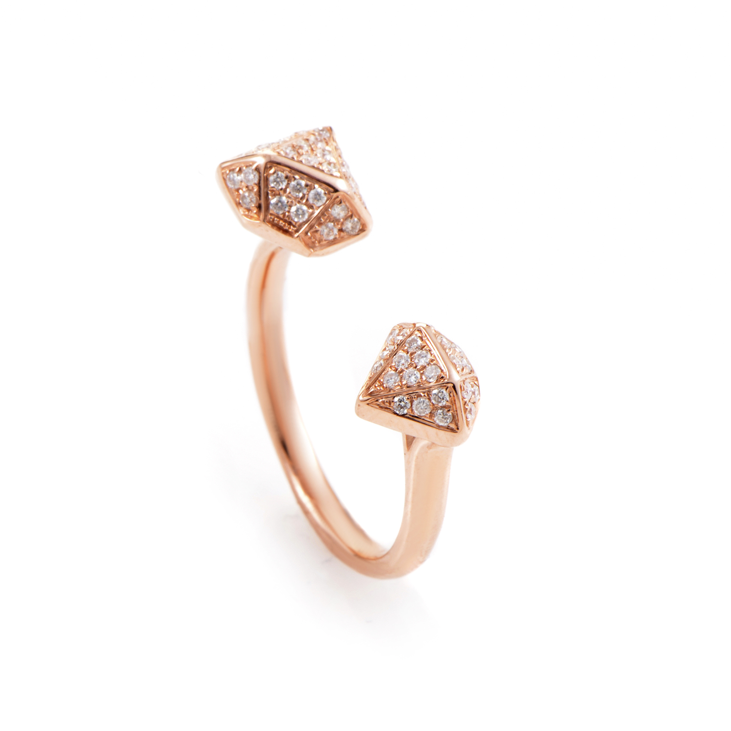 18K Rose Gold Open Diamond Band Ring KO3624RUBZ