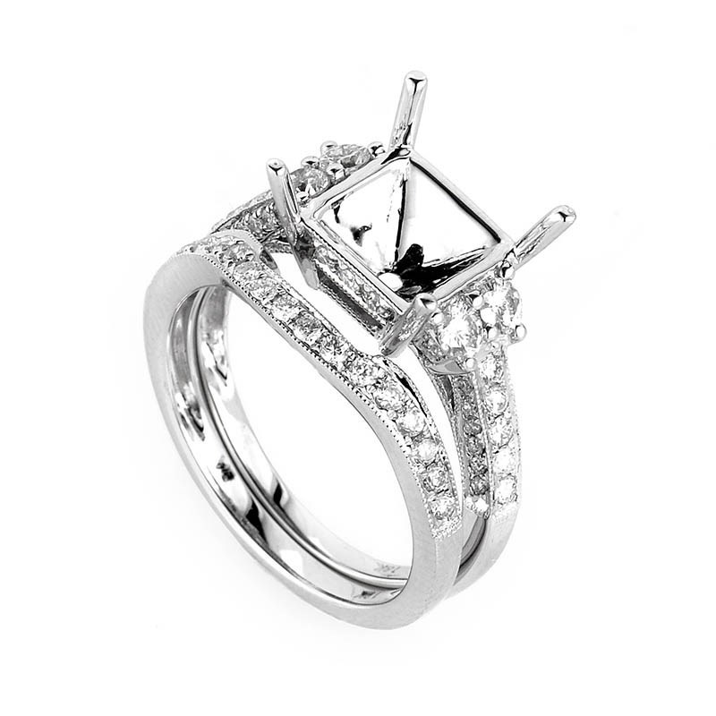 Fancy 18K White Gold Diamond Mounting Bridal Set