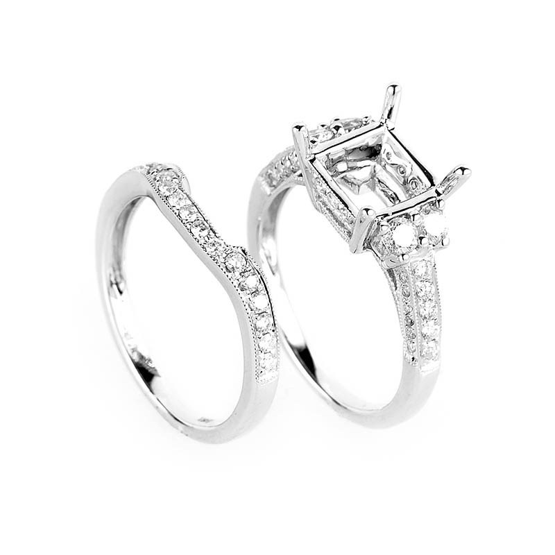 Stunning 18K White Gold Diamond Mounting Set
