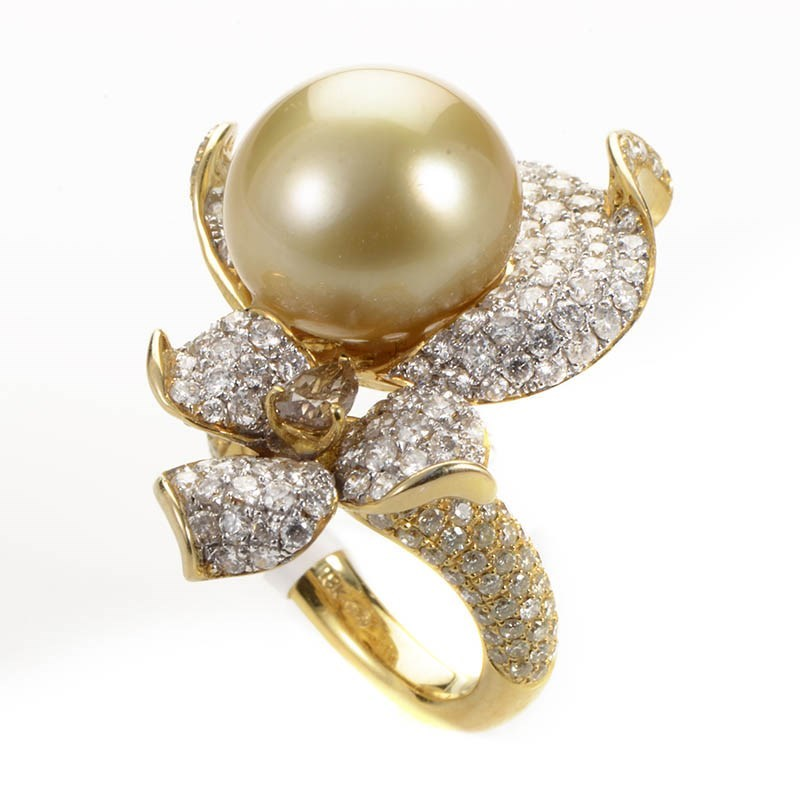 18K Yellow Gold Diamond & Yellow Pearl Flower Ring KO3-8795RLZZ