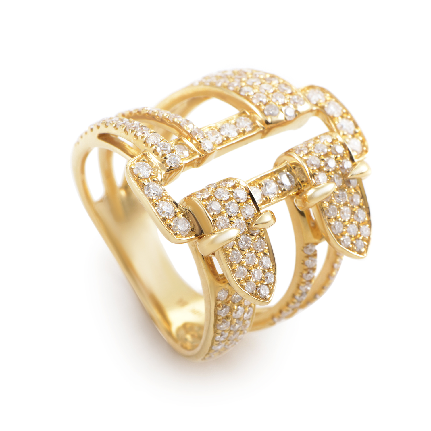 18K Yellow Gold Diamond Pave Buckle Ring KO42161RZZ