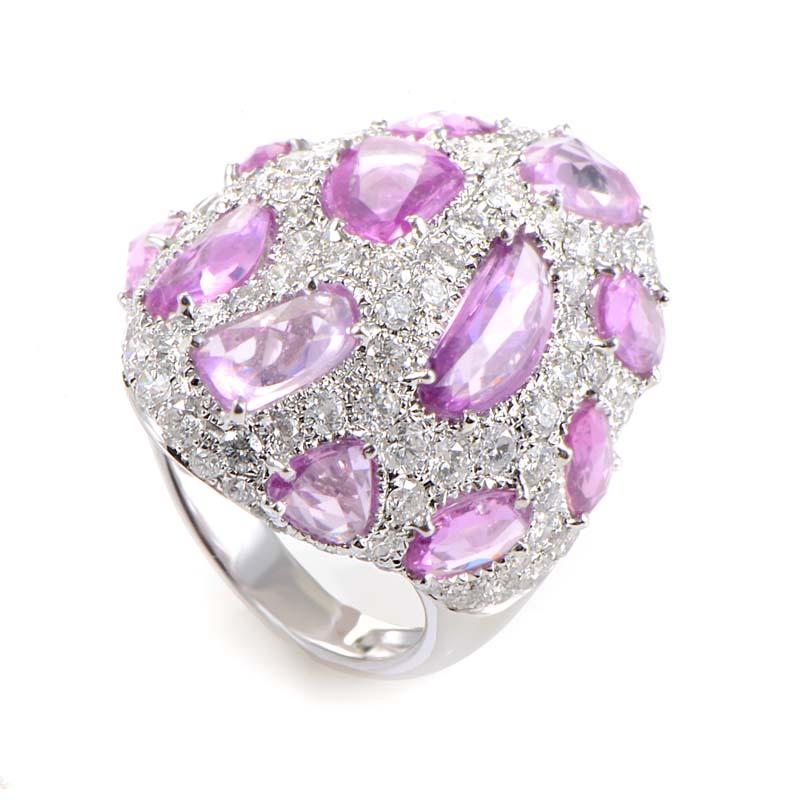 18K White Gold Pink Sapphire & Diamond Ring KO4437RLBBZ