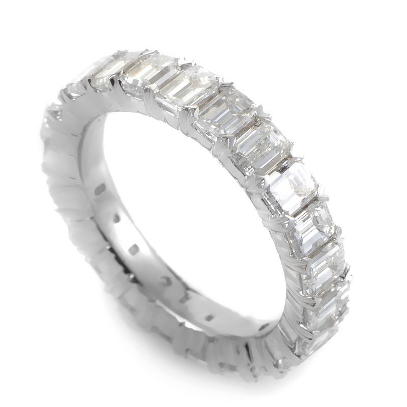 Platinum & Emerald-Cut Diamond Eternity Band KO4637RTPL391