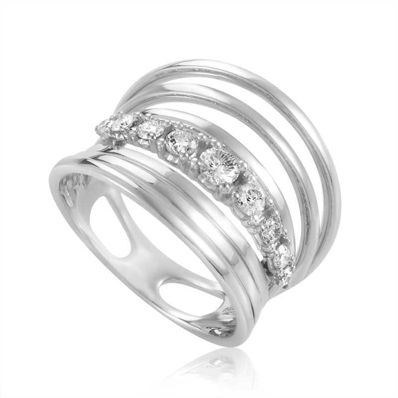 18K White Gold Diamond Band Ring KO49DRFBZ