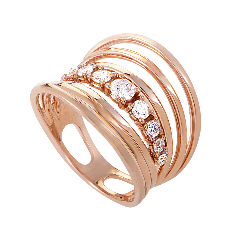 18K Rose Gold Diamond Band Ring KO49DRFRZ