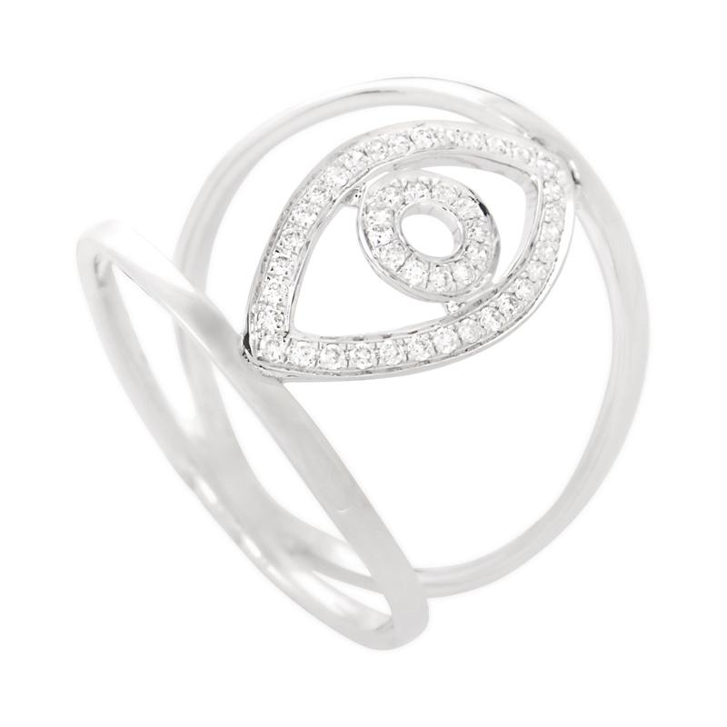 18K White Gold & Diamond Openwork Evil Eye Ring KO59381RJBZ
