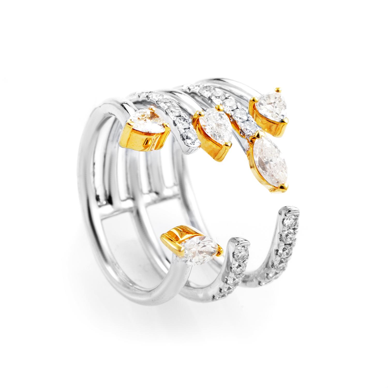 18K Multi-Tone Gold Diamond Openwork Band Ring KO671KLBZZZ