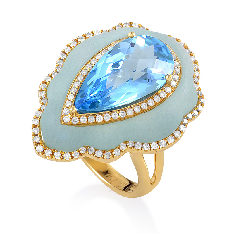 18K Yellow Gold Blue Gemstone & Diamond Ring KO69451RMBZ